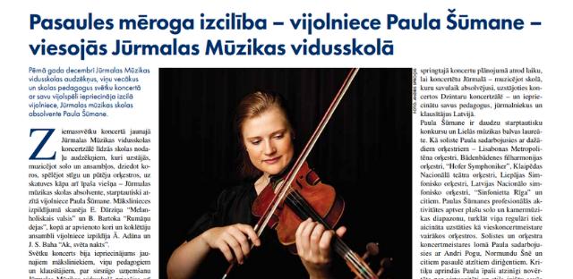 """Izcilā vijolniece un mūsu skolas absolvente - Paula Šūmane, """"Jūrmalas Avīze"""" 10.01.2019. numurā"""